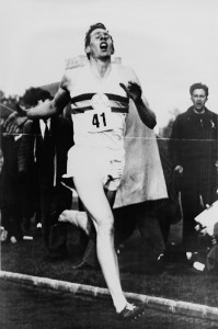 Roger Bannister crossing finish line