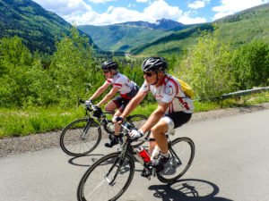 Steve and Allison climbing Vail Pass
